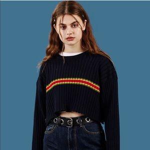 NWOT UNIF   Vintage Ymani Navy Crop Ribbed Sweater
